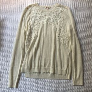 Rebecca Taylor Sweaters - Rebecca Taylor Placed Lace Cream Pullover Sweater
